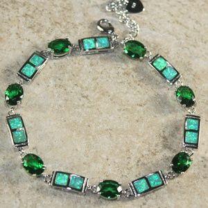Jewelry - Green Fire Opal Silver Bracelet